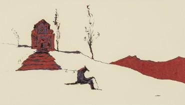 A. Djikia, Licantropo, 31x42 cm, 2007, china e pennarello su carta da lucido